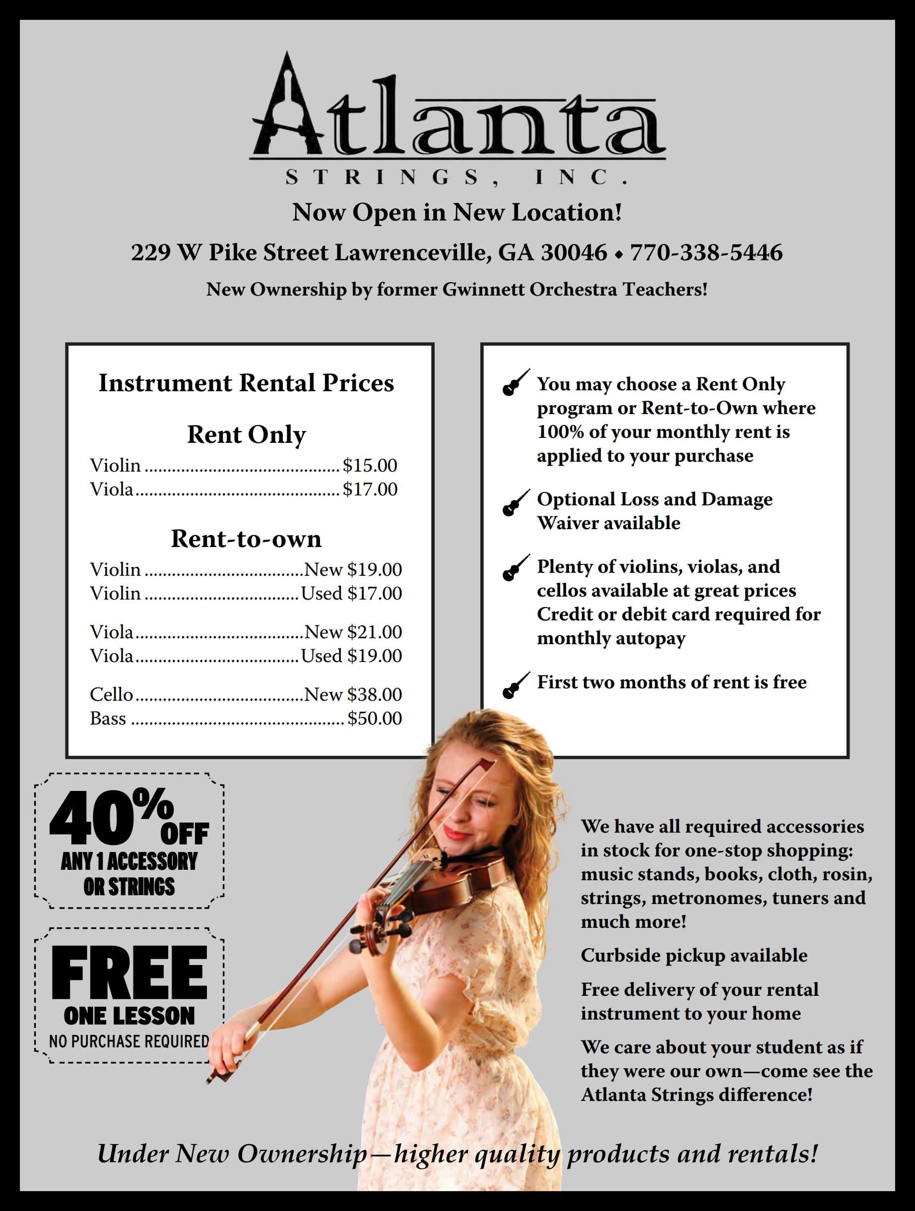 Instrument Rental Price List